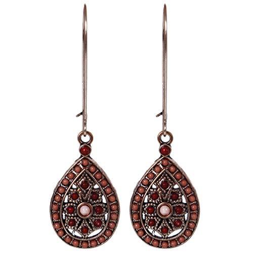 Faliya Vintage Boho Ohrringe ethnische Wassertropfenperlen baumeln Ohrringe Hochzeit Schmuck Zubehör, Rotwein