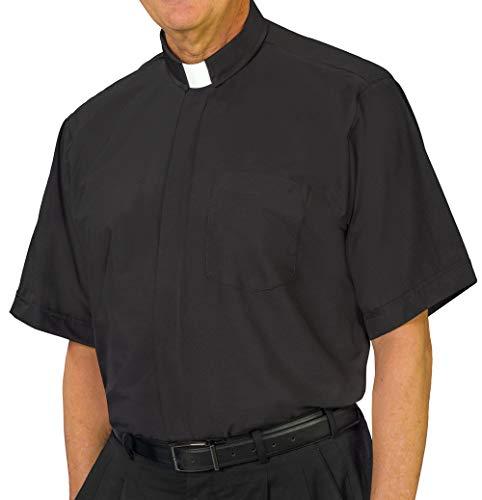 USA-Made Chapel Lane Short Sleeve Tab Collar Clergy Shirt - Black - X-Large