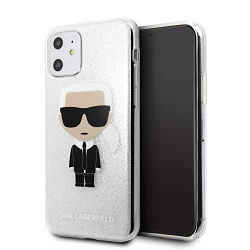Karl Lagerfeld KLHCN61TPUTRIKSL Iconic Karl Glitter Cover Hülle für iPhone 11, Silber
