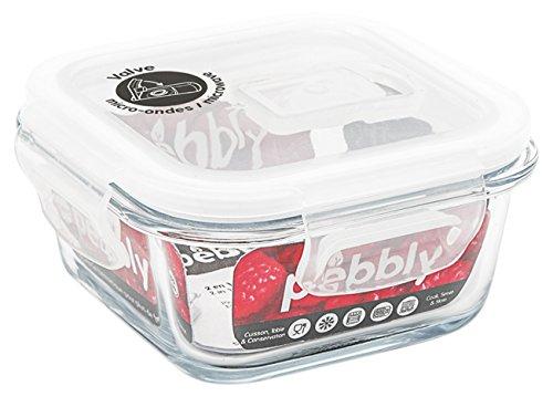 PEBBLY - PKV-320CB - Boite de conservation en verre carrée 320 ml pour cuire, conserver, transporter et réchauffer - 100% hermétique