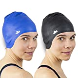 The Friendly Swede Silicone Long Hair Swim Caps -...