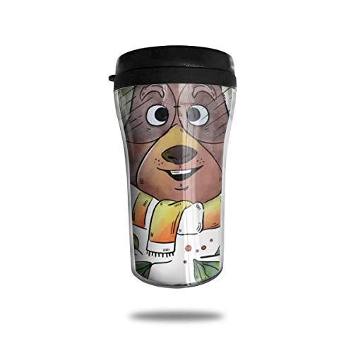 Taza de café de viaje con impresión 3D, taza de té aislada, taza de agua, taza de viaje para hombres, mujeres y niños, hola oso de invierno