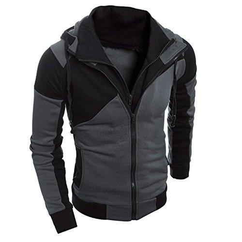 UJUNAOR Männer RetroLangarm-Hoodie Mit Kapuze Sweatshirt Tops Jacke Mantel Outwear(EU L/CN XL,Schwarz)