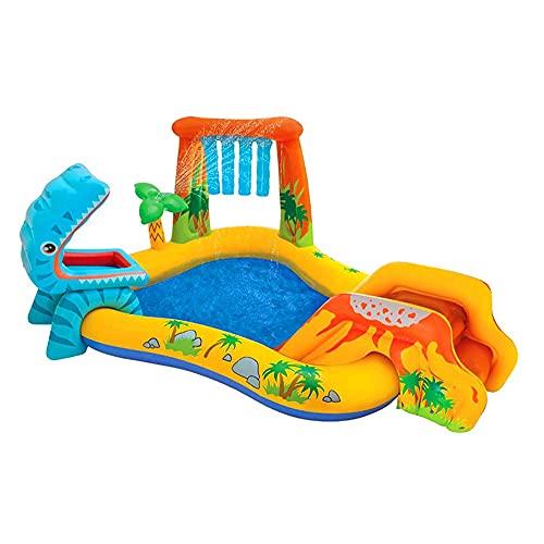 LIALIYA Centro de Juegos Inflable de Dinoland, para niños/Castillo de Salto Infantil con Diapositiva para al Aire Libre y en Interiores