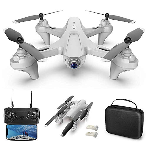 LDDZB RC Drone with Camera Dual Camera Drone 4k RC Quadcopter WiFi FPV Drone Folding Drone Headless Mode One Key Return Drone for Adults with Portable Bag (Color : White, Size : 2 Battery)