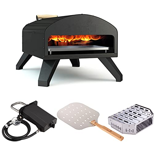 Bertello Outdoor Pizza Oven Bundle - Bertello Oven, Gas+Wood Tray Burner, Pizza Peel, Pizza Stone