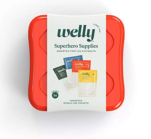 Welly First Aid Kit - Superhero Supplies, Single Use, Assorted Ointments and Hand Sanitizer - 36 Count