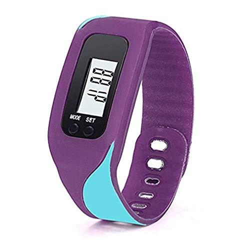 ITVIP Schrittzähler Armband aus Silikagel mit digitalem LCD-Display, Schrittzähler, Entfernungsmesser, kleine Uhr mit Kalorienberechnung, Unisex, violett, 4,5 x 3,4 x 2,2 cm