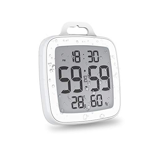 BALDR Digital Shower Clock with Timer | Waterproof Design, Perfect for The Bathroom - Displays Time, Temperature, and Humidity(White)