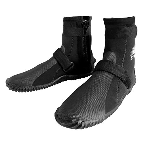 BPS 3mm Neoprene Water Boots - Dive Boots with Rubberized Antislip Sole for Swim Fins Watersports Rafting SUP Kayaking Surfing - High Cut Dive Shoes Slip on-and-Off Design