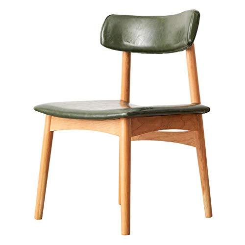 WSDSX Stuhl Esszimmerstühle Kunstlederkissen Retro Lounge Chairs Rückenlehnen-Design und Holzbeine Für Office Lounge Dining Kitchen Lagergewicht 150 kg (Farbe: Grün)