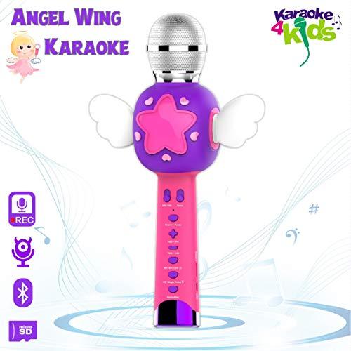 VOZKOM Angel Wing Kinder Mikrofon, Kinder Aufzeichnung Allcele Karaoke Anlage Wiederaufladbares Gesangsmaschine, Mädchen Superstar Geschenke 4 5 6 7 8 Jahre, Spielzeug Ab 5 6 7 8 Jahre Mädchen