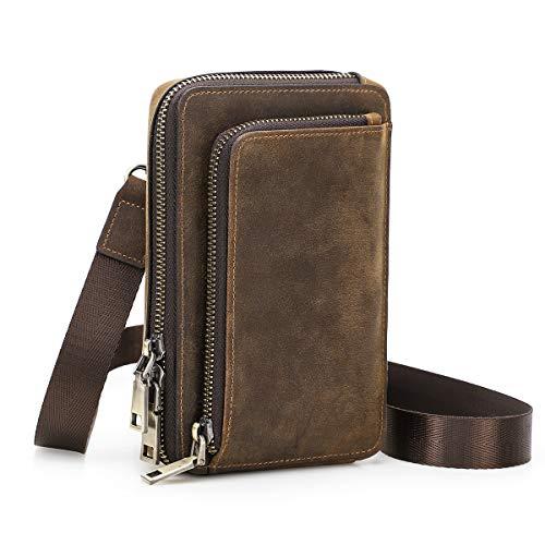 Contacts Cuero auténtico hombre pequeño mensajero cinturón cintura bolsa monedero teléfono cartera para deportes senderismo camping monedero