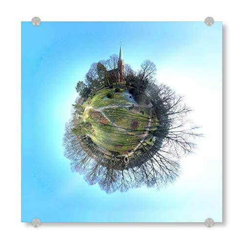 artboxONE Acrylglasbild 30x30 cm Städte Hamburg-Lohbrügge Erlöserkirche - Bild Hamburg bergedorf drohne