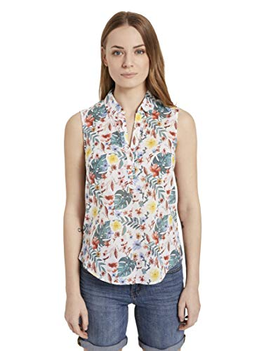 TOM TAILOR Damen Solid T-Shirt, 24053-white Watercolor flo, 36