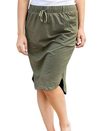 wenseny Womens Skirts Knee Length Pencil Skirts Elastic Midi Bodycon Solid Drawstring Daily Dresses Army Green L