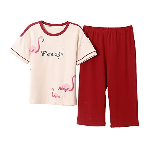 LEYUANA Conjunto de Pijamas de Talla Grande M-4XL para Mujer, Pijamas de Manga Corta de Verano, 100% algodón, Ropa de Dormir para Mujer, Pijamas Bonitos 4XL CGE907