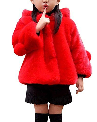 Cappotti da Bambina Ragazza Cape Cappuccio Pelliccia Faux Cappotto Giacche Rosso 170CM