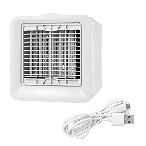 Climatización Enfriadores evaporativos Aire acondicionado portátil, USB 3 Modos Mini refrigerador de aire Espacio personal Fan Agua Agua Ventilador de hielo Aparato de refrigeración Dispositivo de ofi