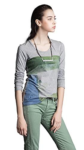 Camiseta de manga corta y otoño para mujer, diseño de flores, gris, 36