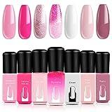 Best RY Nail Polish Sets - Modelones Gel Nail Polish Set - Pink Glitter Review