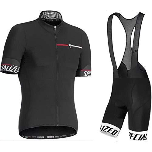 Maglia da Ciclismo da Uomo Set Manica Corta in Jersey + Salopette da Ciclismo Maglie Ciclismo Traspirante Set Completo da Ciclismo A Asciugatura Rapida Black-L