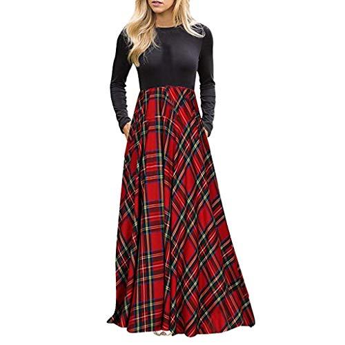 SETSAIL Damen Plaid Langarm Empire Stil Taille Ganzkörperansicht Maxi-Kleid Kariertes Kleid mit Langer Ärmeltasche Elegant Slim Fit Festliche Kleider Bequem Alltagskleidung