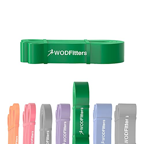 WODFitters Pull Up Assistance Band for Stretching, Mobility Workouts, Warm Up, Recovery, Powerlifting, Home Fitness and Exercise (#4 Green)