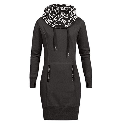 TOPKEAL Mode Damen Herbst Winter Brief Drucken Hoher Kragen Pullover Langarm Minikleid Sweatshirt Frauen Plus Größe Lässig Kurz Kleid Tops (B1_Dunkel grau, XL)