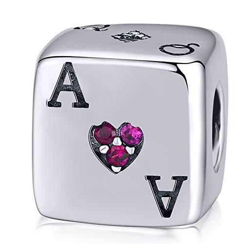 ZiFouDou Abalorio para Pulsera Pandora&Chamilia,Abalorio de Plata de Ley 925,Originales Bead Charm para Collare -Dados de La Suerte