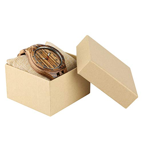 RWJFH Wooden watch Steampunk Wooden Men's Watch Natural Wood Bangle Mens Timepiece Clock Cool Rivet Numerals Display Watches Gifts,with gift box