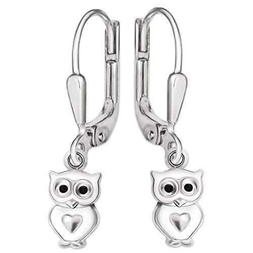 CLEVER SCHMUCK Silberne Kinder Ohrhänger 23 mm Mini Eule 8 mm weiß lackiert mit kleinem Herz glänzend Sterling Silber 925