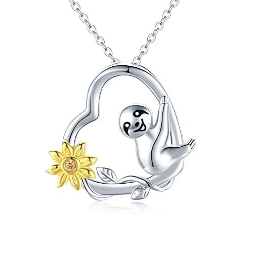 Faultier Halskette für Mädchen Frauen Sterling Silber Sonnenblume und Faultier Herz Halskette Geschenke für Frau Freundin Tochter mit Geschenkbox