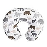 Boppy Nursing Pillow and Positioner—Original   Neutral Wildlife, Forest Animals on White   Breastfeeding, Bottle Feeding, Baby Support   With Removable Cotton Blend Cover   Awake-Time Support