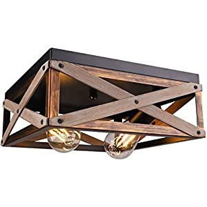 Rustic Flush Mount Ceiling Light Fixture, Farmhouse Light Fixtures Ceiling Two Light Metal and Wood Square Industrial Ceiling Lighting Fixtures for Farmhouse Bedroom Kitchen Balcony Hallway Entryway