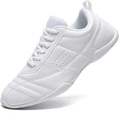Mfreely Cheer Shoes for Girls White Cheerleading Athletic Dance Shoes Flats Tennis Walking Sneakers for Women White3 9 B (M) US
