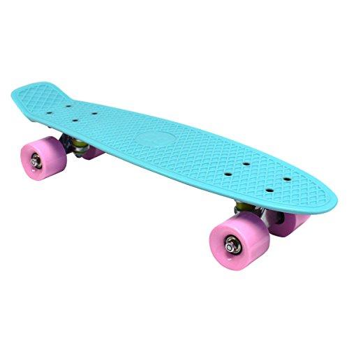 Charles Bentley Kinder Retro Cruiser Mini-Kunststoff-Skateboards - voellig zusammengebaut - Designs/Farben/Prints - 22