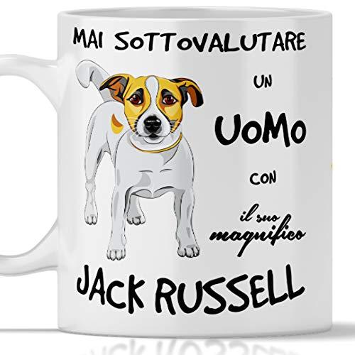 Taza Jack Russell para hombre, apta para el desayuno, té, tisana, café, capuchino. Gadget taza nunca subestimar un hombre con un perro Jack Russell. Idea de regalo original