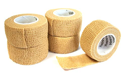 Happyplast Pflaster ohne Kleber (hautfarben) | 5 Stück Fingerpflaster wasserfest selbsthaftend elastisch | Pflasterband selbstklebend 2,5 cm x 4,5 m | Selbsthaftendes Pflaster sensitiv