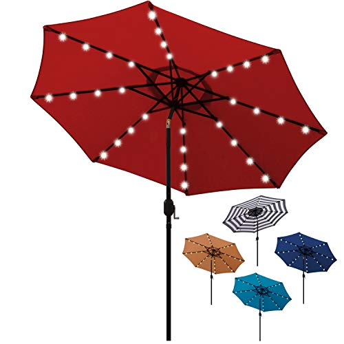 Blissun 9 ft Solar Umbrella 32 LED Lighted Patio Umbrella Table Market Umbrella with Tilt and Crank Outdoor Umbrella for Garden, Deck, Backyard, Pool and Beach (Red)