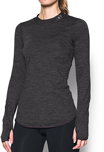 Under Armour Women's ColdGear Fitted Mock Neck, Carbon Heather (090)/Metallic Silver, Medium