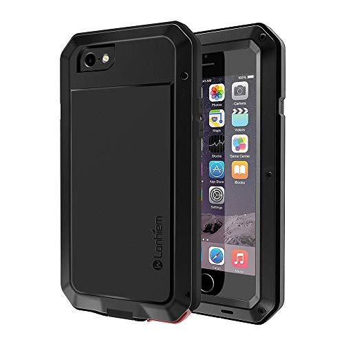 Lanhiem Funda iPhone 6 / 6S, [Rugged Armour] Antigolpes Metal Estuche Protectora, Absorción de Choque y Duradera Fundas con Protector de Pantalla Vidrio Carcasa para 4.7 iPhone 6 6S, Negro