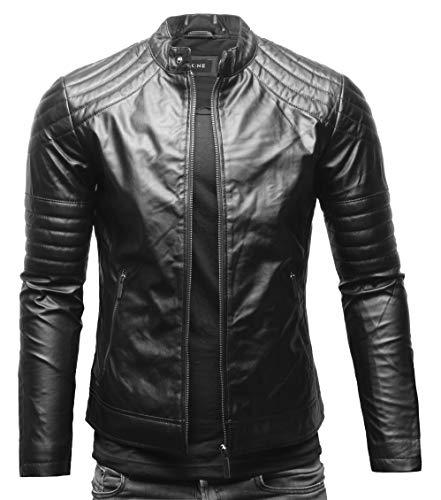 Crone Blackhawk Herren Biker Lederjacke Eco Leder Jacke Bikerjacke (M, Limited Black (Ecoleder))