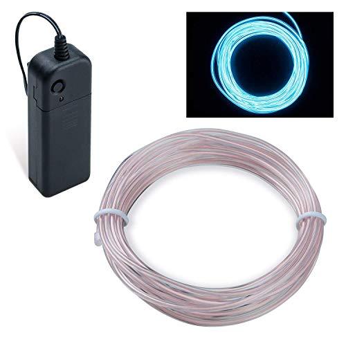 COVVY Wasserdicht Flexibel 3M 9 FT Neon Beleuchtung Lichtschlauch Leuchtschnur EL Kabel Wire mit 3 Modis für Disco Party Kinder Halloween Kostüm Kleidung Weihnachtsfeiern (Iced Blau, 5M)