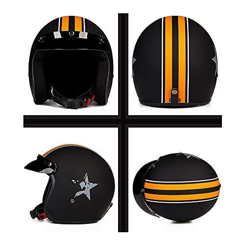 Fiberglas offene Motorrad Halbhelm DOT zugelassen Männer und Frauen Klassische Motorradhelm - matt schwarz orange weiß Stern,M