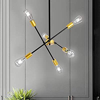 Sputnik Chandeliers,6 Lights Industrial Pendant Lighting,Black Modern Chandelier, Ceiling Light Fixture Gold for Bedroom,Dining Room,Bar,Restaurant
