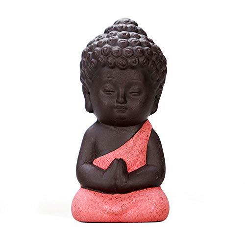 QWERWEFR 8 * 4 cm Buddhismus Litlle Meditation Mönch Kleine Statuen Miniatur Handwerk Buddha Statuen Ton Mini Chinesischen Buddhismus Zen Mönche,E