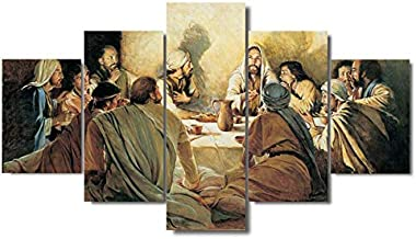JLJLJL 5 Piece Printed Last Supper Jesus Christ Canvas Painting Canvas Panel Poster Picture Canvas Wall Art Home Decor