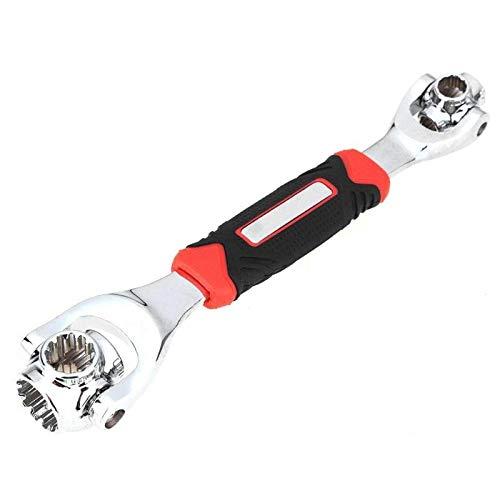 ZT-TTHG 48 en 1 Multiusos Perno Llave de 360 grados llave de tubo rotatorio de la llave inglesa con la herramienta de mano de reparación Spline Pernos Muebles de coches (Color : Black)