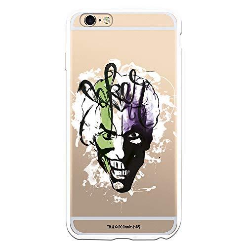 Funda para iPhone 6 Plus - 6S Plus Oficial de DC Comics Joker Rostro Transparente para Proteger tu móvil. Carcasa para Apple de Silicona Flexible con Licencia Oficial de DC Comics.